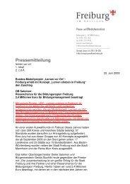 Pressemitteilung LEIF - Ökostation Freiburg