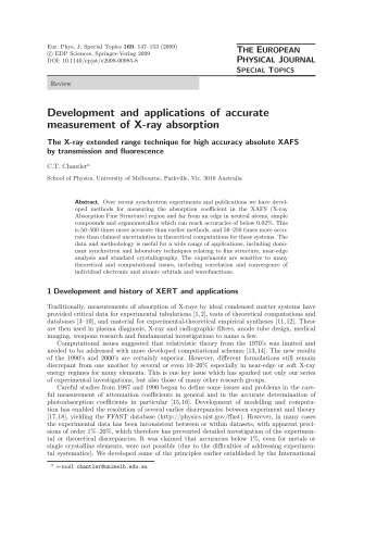 C. T. Chantler, Development and Applications of Accurate ...