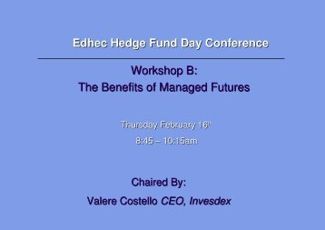 The Benefits of Managed Futures - EDHEC-Risk