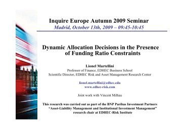 Dynamic Allocation Decisions in the Presence of ... - EDHEC-Risk