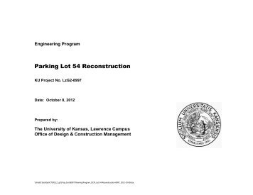 KU Lot 54 Reconfiguration - Department of Administration