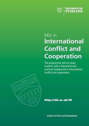 MSc in International Conflict and Cooperation - University of Stirling