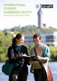 international student handbook 2012/13 - University of Stirling