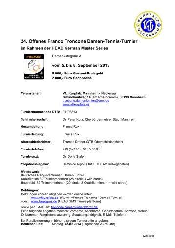 Ausschreibung Troncone Damen-Tennis-Turnier 5. - VfL Kurpfalz ...