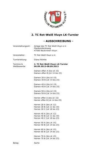 2. TC Rot-Weiß Vluyn LK-Turnier - AUSSCHREIBUNG - - TVPro-online