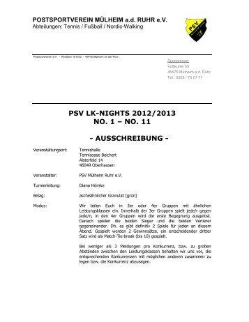 Ausschreibung PSV LK Nights 2012 - Turniere 1 bis 11 - TVPro-online