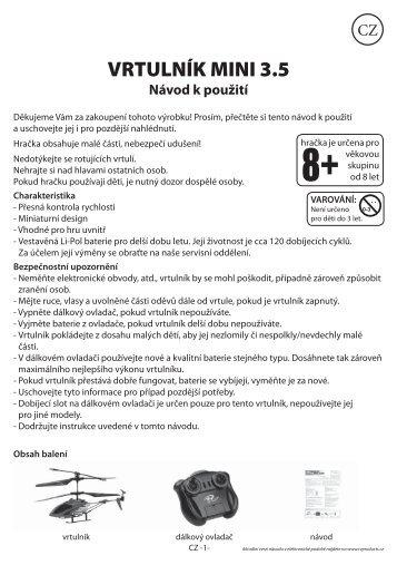 VRTULNÍK MINI 3.5 Návod k použití - tv products cz