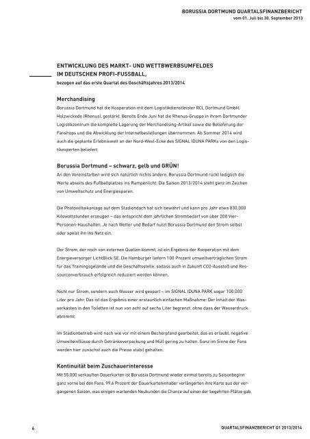 Quartalsfinanzbericht Q1 2013/2014 - BVB Aktie - Borussia Dortmund