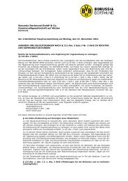 Rechte der Aktionäre - BVB Aktie - Borussia Dortmund