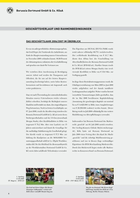 geänderter Geschäftsbericht 2006/2007 KGaA - BVB Aktie ...
