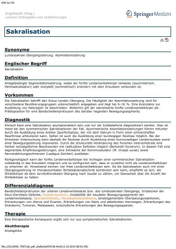 Sakralisation - Engelhardt Lexikon Orthopädie und Unfallchirurgie