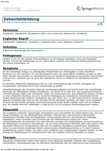 Zehenfehlbildung - Engelhardt Lexikon Orthopädie und Unfallchirurgie