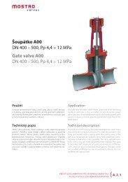 Šoupátko A00 DN 400 – 500, Pp 4,4 ÷ 12 MPa Gate valve A00 ... - Net