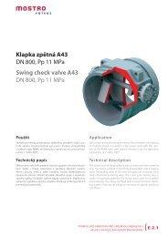 Klapka zpětná A43 DN 800, Pp 11 MPa Swing check valve ... - Net