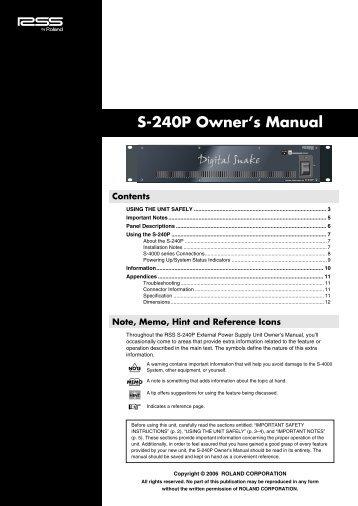S-240P Owner's Manual