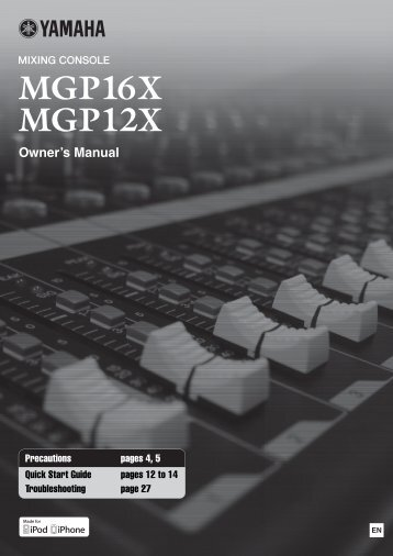 MGP16X/MGP12X Owner's Manual