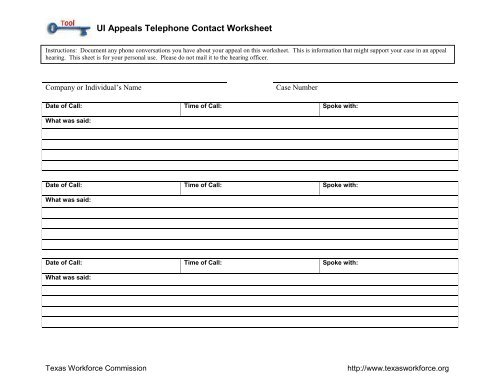 Unemployment Insurance Appeals Telephone Contact Worksheet