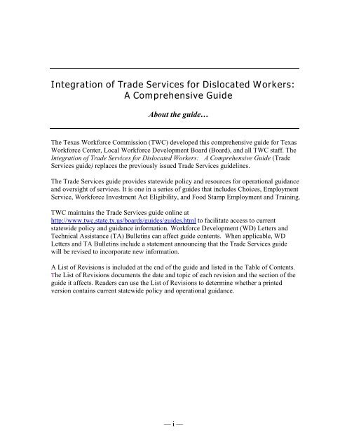 Integration of Trade Services for Dislocated Workers - Texas ...