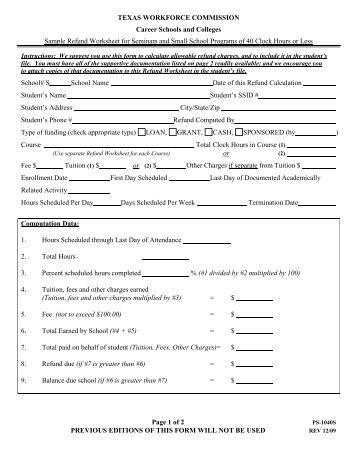 form ps1040d sample refund worksheet for asynchronous. Black Bedroom Furniture Sets. Home Design Ideas