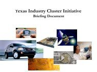 Crosscutting Cluster Issues Briefing - Texas Workforce Commission