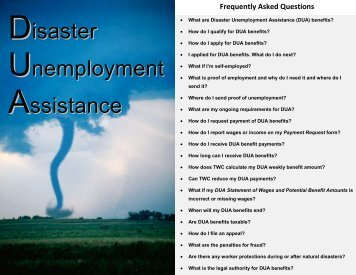 Disaster Unemployment Assistance - Texas Workforce Commission