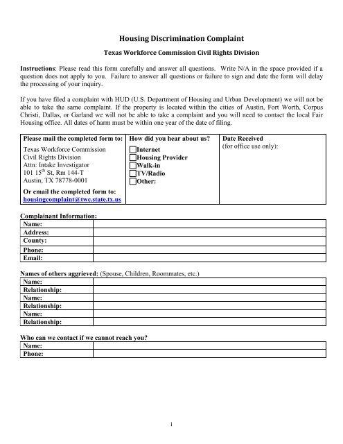 Housing Discrimination Intake Form - Texas Workforce Commission