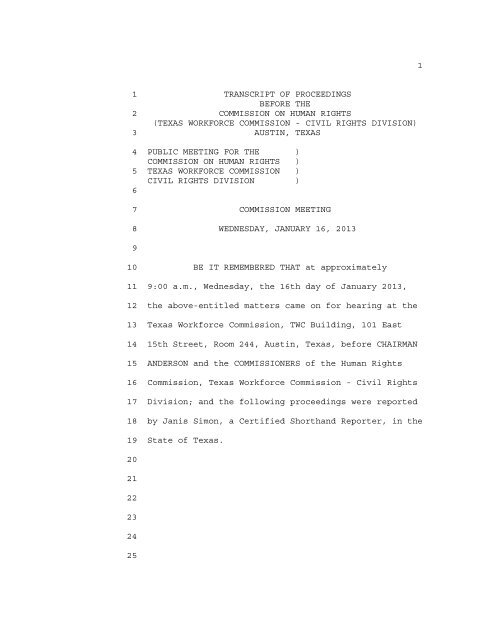 January 16, 2013 - Texas Workforce Commission