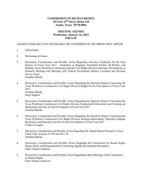 Commission Human Rights Meeting Agenda: January 16, 2013
