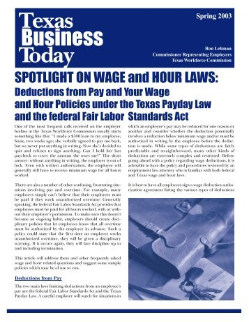 Newsletter: Texas Business Today, Spring 2003 - Texas Workforce ...