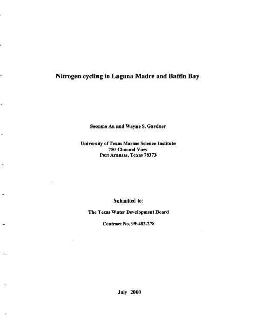 Nitrogen cycling in Laguna Madre and Baffin Bay - Texas Water ...