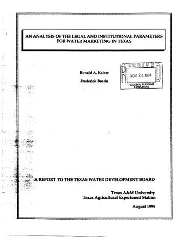 an analysis of the legal and institutional paramei ers - Texas Water ...