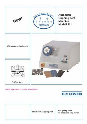 Erichsen Cupping Test For Sheet Metal Sp4400 Tqc Manual