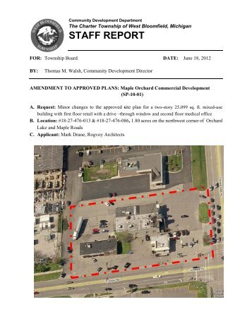 Consideration of site plan amendment to approved plans - West ...