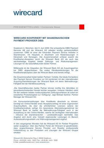 WIRECARD KOOPERIERT MIT SKANDINAVISCHEM PAYMENT ...