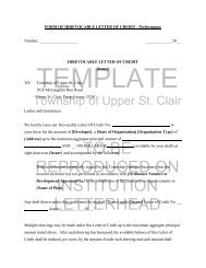Form of Irrevocable Letter of Credit - Performance - Township of ...