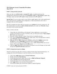 Wi-Fi Internet Access Connection Procedure Mac OS 10