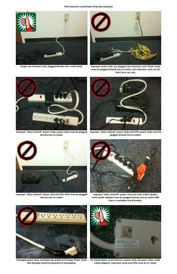 TWU Extension Cord/Power Strip Rule Examples Proper use of ...