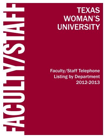 Faculty/Staff Directory - Texas Woman's University
