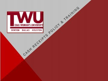 Cash Handling Training and Survey - Texas Woman's University