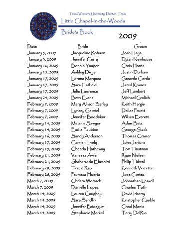 Date Bride Groom January 3, 2009 Jacqueline Robson Josh Hays ...