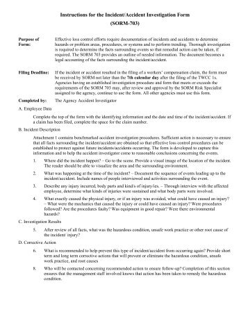 Instructions for the Incident/Accident Investigation Form (SORM-703)