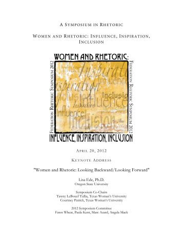 """Women and Rhetoric: Looking Backward/Looking Forward"""