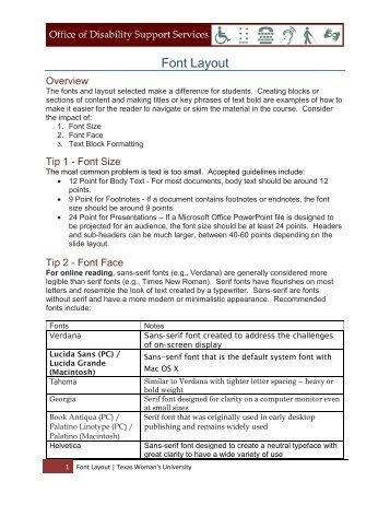 Font Layout - Texas Woman's University