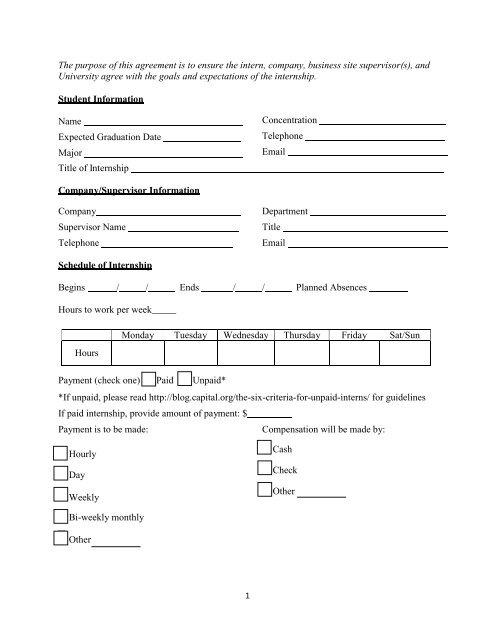 Internship Agreement Form Pdf
