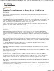 Texas May Provide Guarantees for Charter-School Debt Offerings ...
