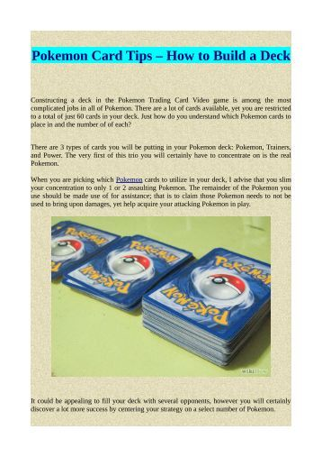 Pokemon Card Tips – How to Build a Deck
