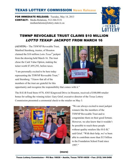 tswnp revocable trust claims $10 million lotto texas     - Texas Lottery