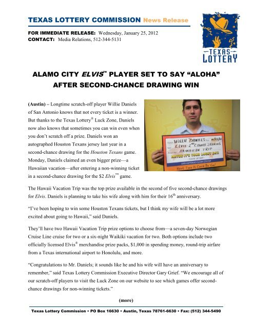 """""""ALOHA†AFTER SECOND-CHANCE DRAWING WIN - Texas Lottery"""
