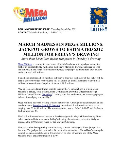 March Madness In Mega Millions Jackpot Grows To Texas Lottery