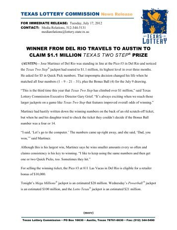 Weekly Grand Winner Claims Million Dollar Prize From Texas Lottery